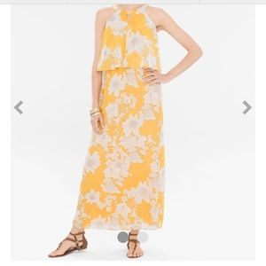 Chico's size 2.0 yellow floral full length dress